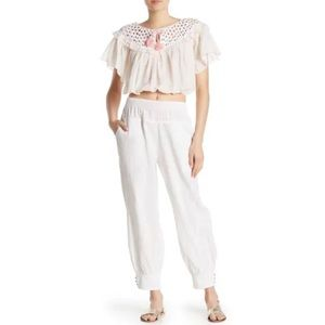 Free People Allora Crochet Cropped Blouse